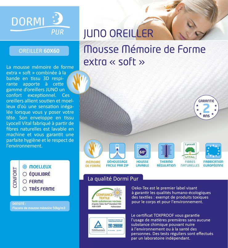 dormi pur oreiller 60x60cm mousse mémoire de forme DORMIPUR Oreiller mousse à mémoire de forme Juno confort soft  dormi pur oreiller 60x60cm mousse mémoire de forme