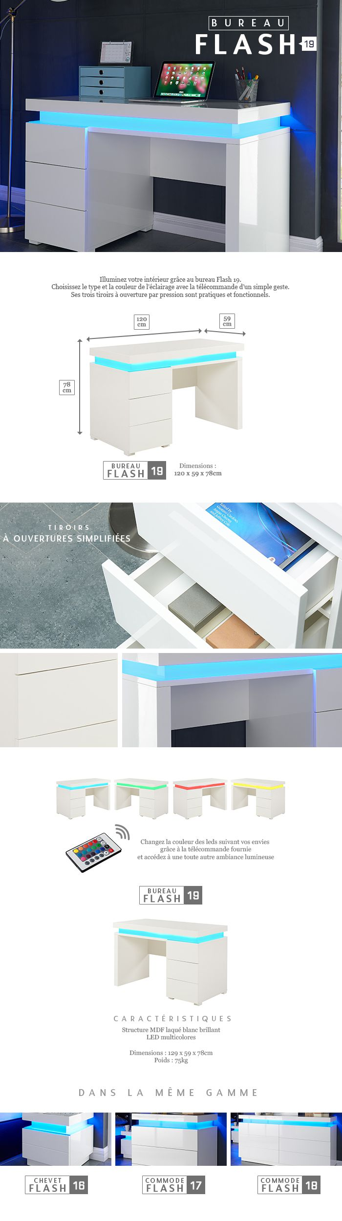 Flash Bureau Contemporain Blanc Brillant L 120 Cm Achat Vente