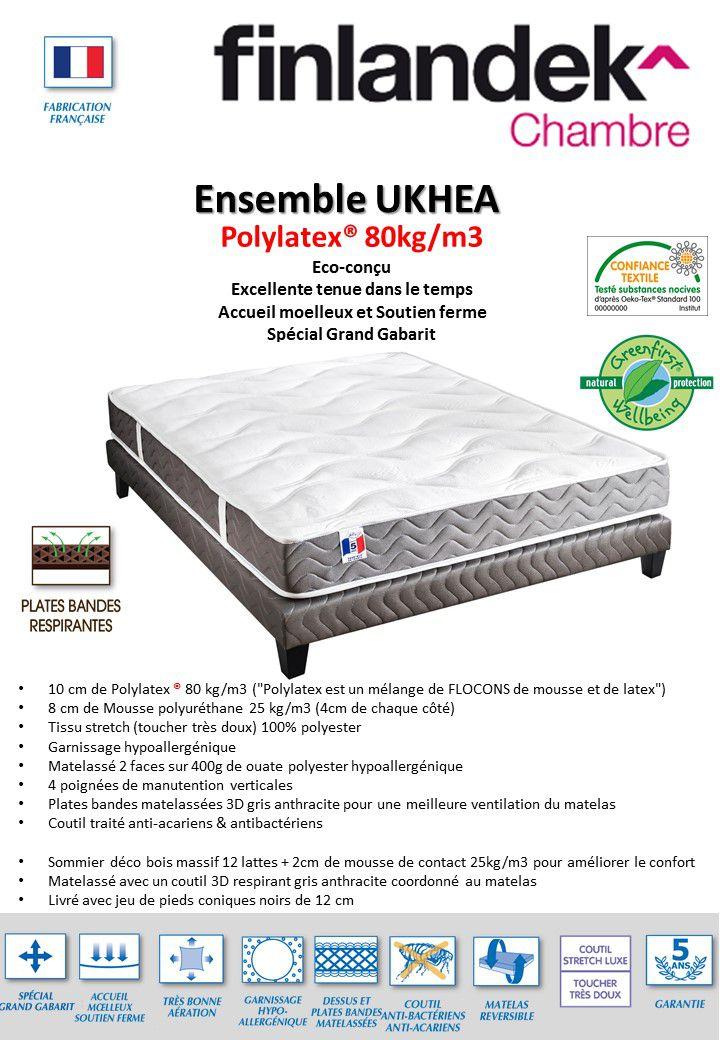 finlandek ensemble matelas sommier ukhea 140x190 cm polylatex ferme 80kg m3 25kg m3. Black Bedroom Furniture Sets. Home Design Ideas