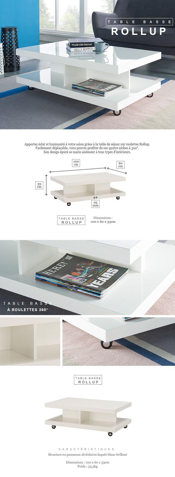 Mettre Des Roulettes Sous Une Table rollup table basse sur roulettes style contemporain laqué