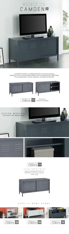 Camden meuble tv en m tal 120 cm gris fonc achat for Meuble tv suspendu 120 cm