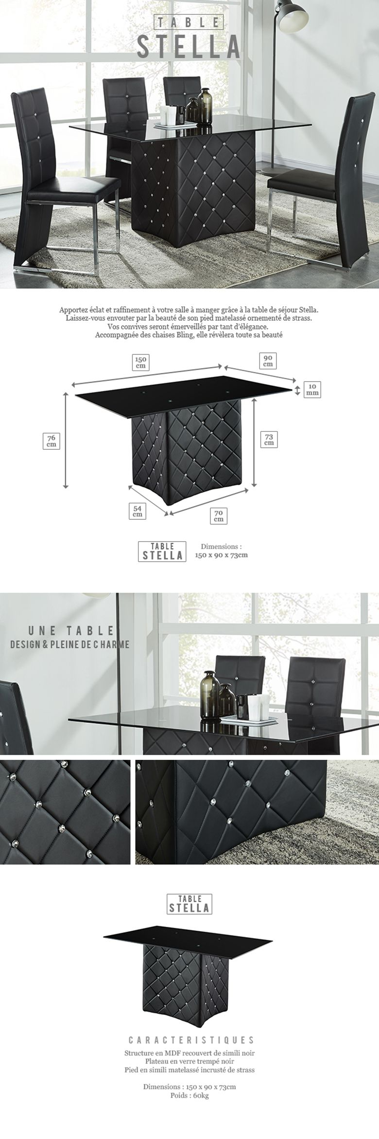 ... Design Dimension Table 6 Personnes : STELLA Table à Manger 6 Personnes  150x90 Cm Avec Strass ...