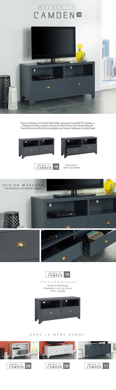 camden meuble tv en m tal 120 cm gris fonc achat vente meuble tv camden meuble tv black. Black Bedroom Furniture Sets. Home Design Ideas