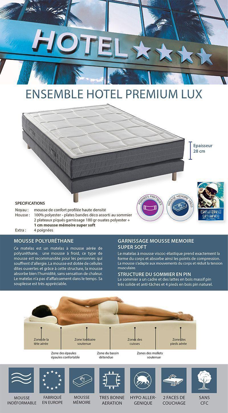 Deko dream ensemble matelas sommiers hotel premium lux 180x200 cm m moire - Matelas qualite hotel ...