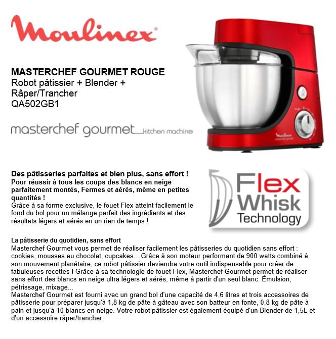 Moulinex Küchenmaschine Masterchef Gourmet Plus: Masterchef Gourmet Rouge-robot Pâtissier