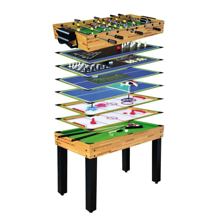 table multi jeux 12 en 1 billard baby foot ping pong air hockey etc devessport achat. Black Bedroom Furniture Sets. Home Design Ideas
