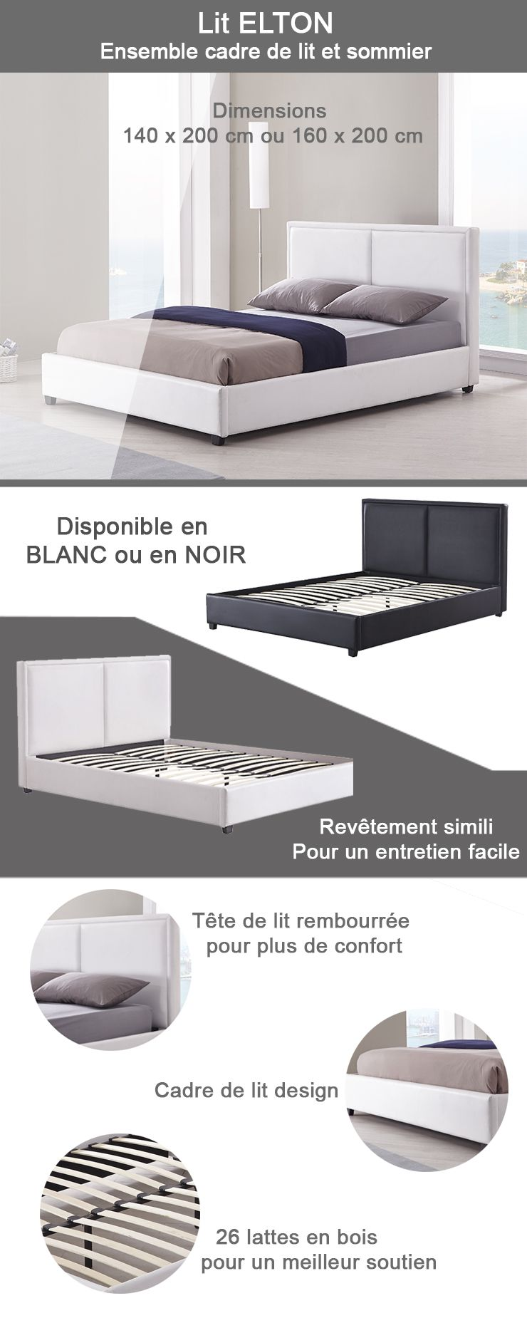 elton lit adulte en simili 160 x 200 cm t te de lit capitonn e sommier blanc achat. Black Bedroom Furniture Sets. Home Design Ideas