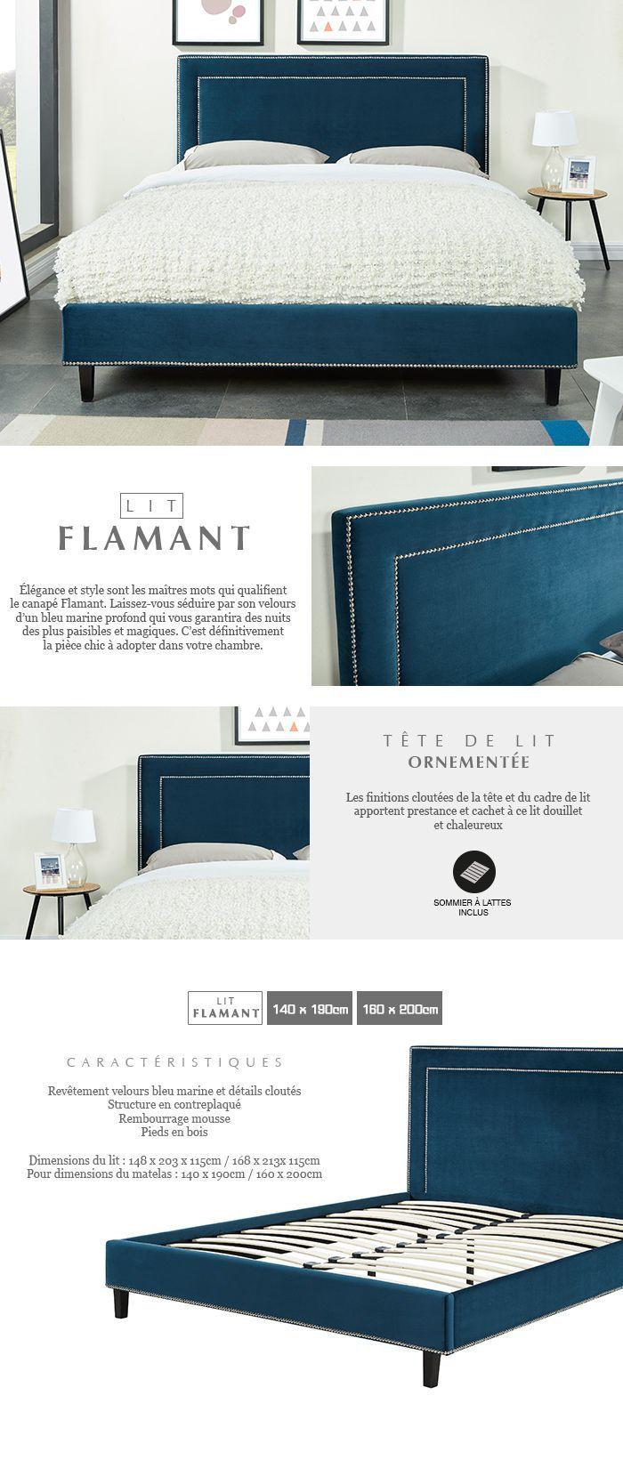 Flamant Lit Adulte Sommier Classique En Bois Velours Cloute Bleu Canard L 140 X L 190 Cm
