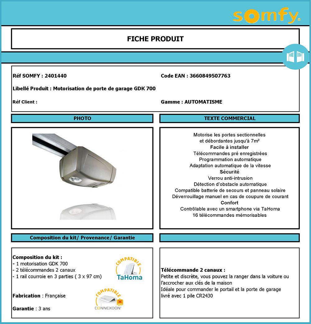 Somfy motorisation pour porte de garage gdk 700 sectionnelle et d bordante 24 v achat vente - Porte de garage somfy ...