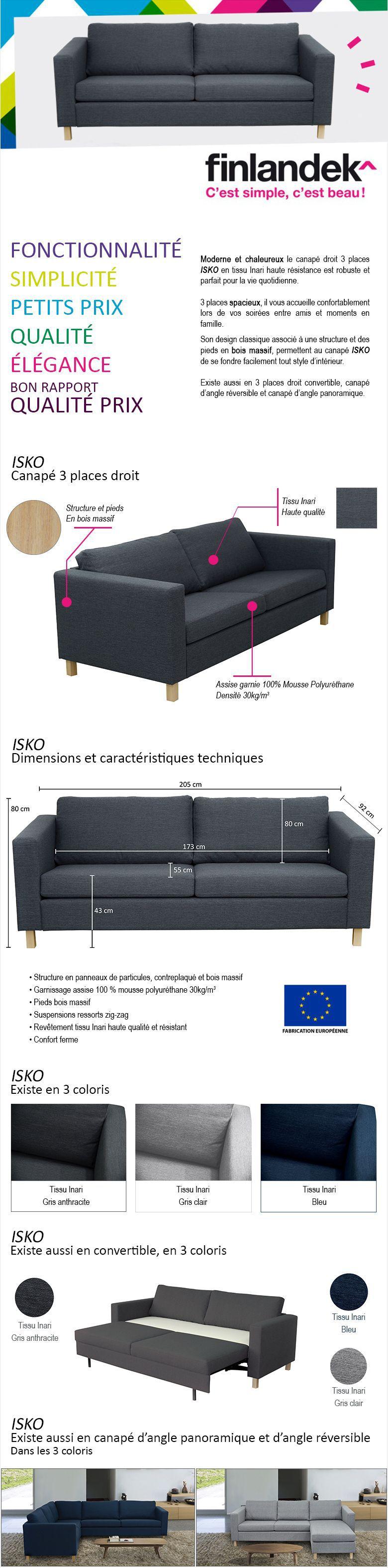 revendeur 90976 49918 FINLANDEK Canapé droit fixe 3 places ISKO - Tissu gris ...