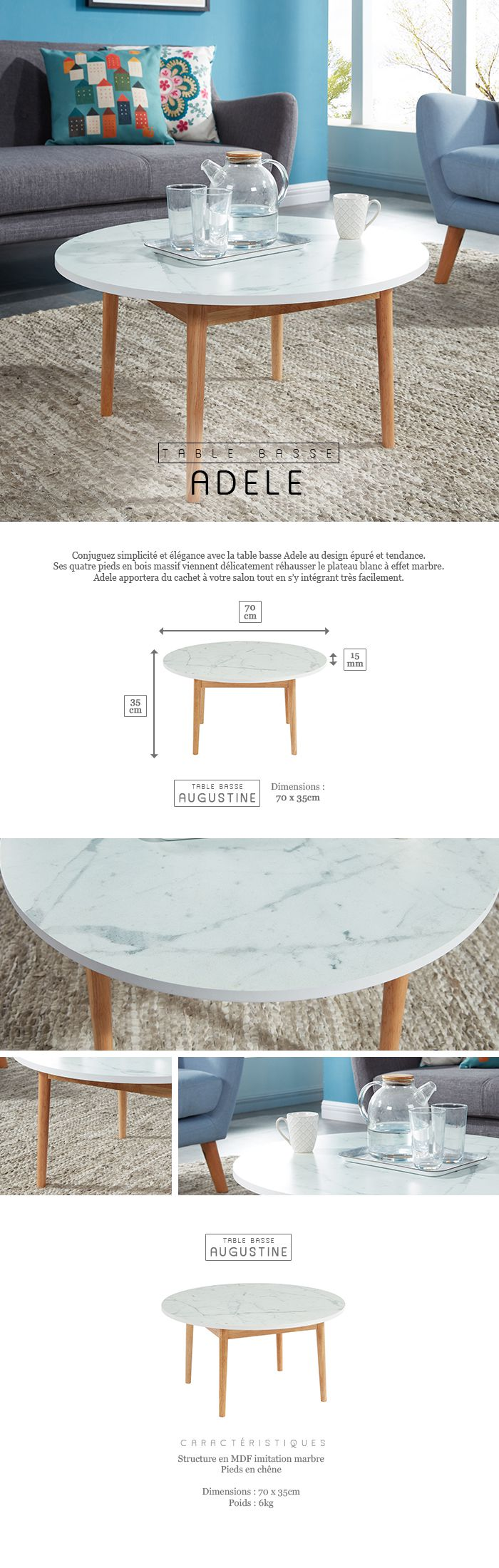 Adele Table Basse Ronde 70x70 Cm Marbre Achat Vente