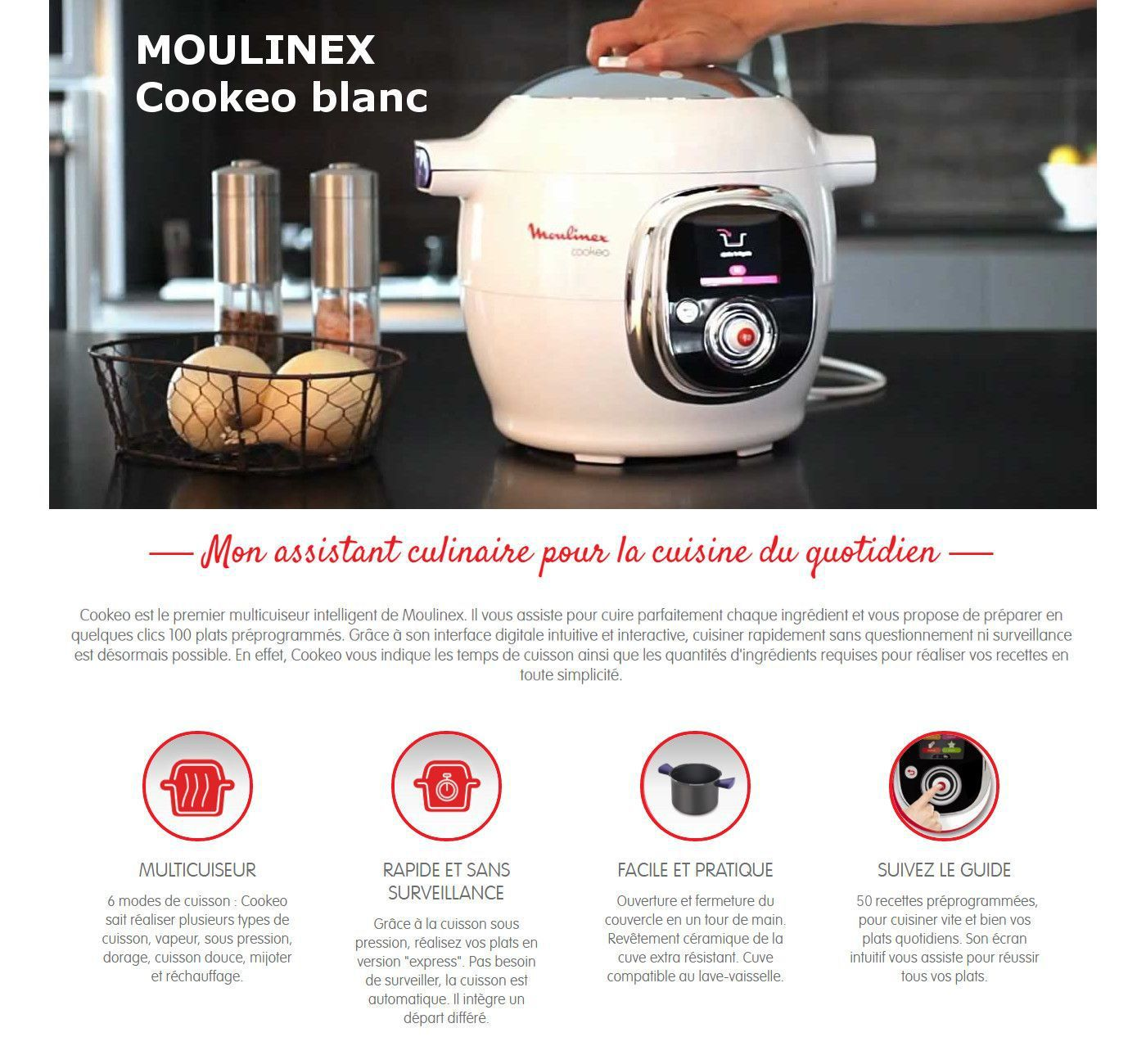 moulinex multicuiseur intelligent cookeo avec 50 recettes ce7010 achat vente. Black Bedroom Furniture Sets. Home Design Ideas