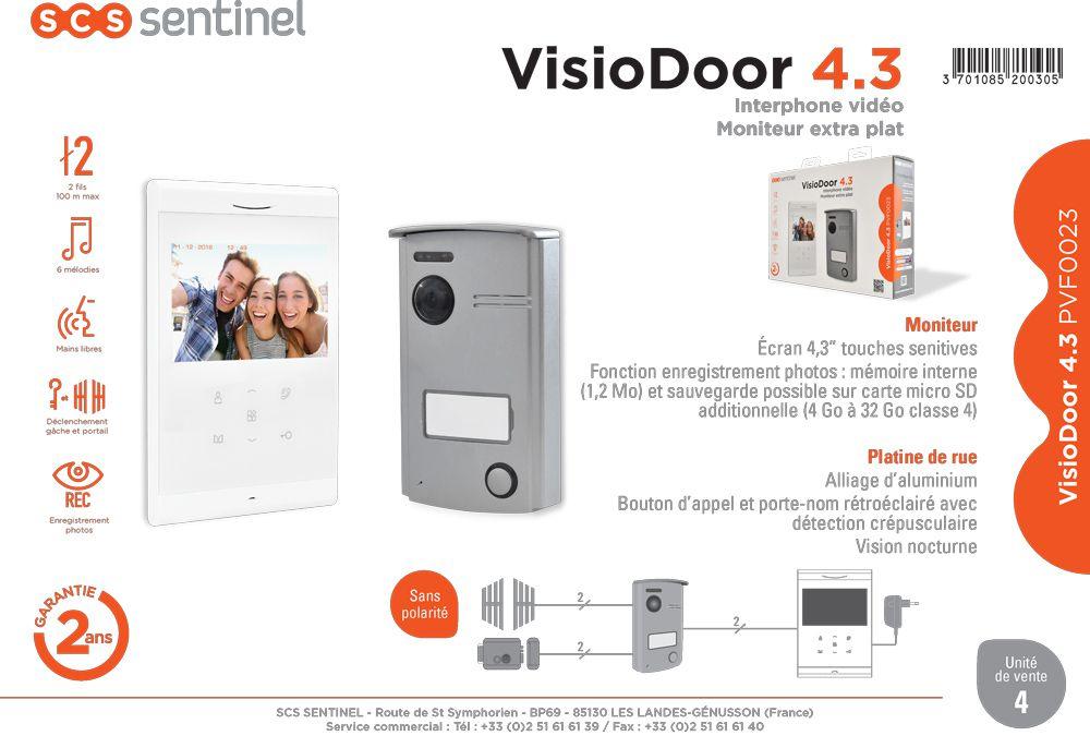 scs sentinel visiophone visiodoor 4 3 2 fils couleur mains libres achat vente interphone. Black Bedroom Furniture Sets. Home Design Ideas