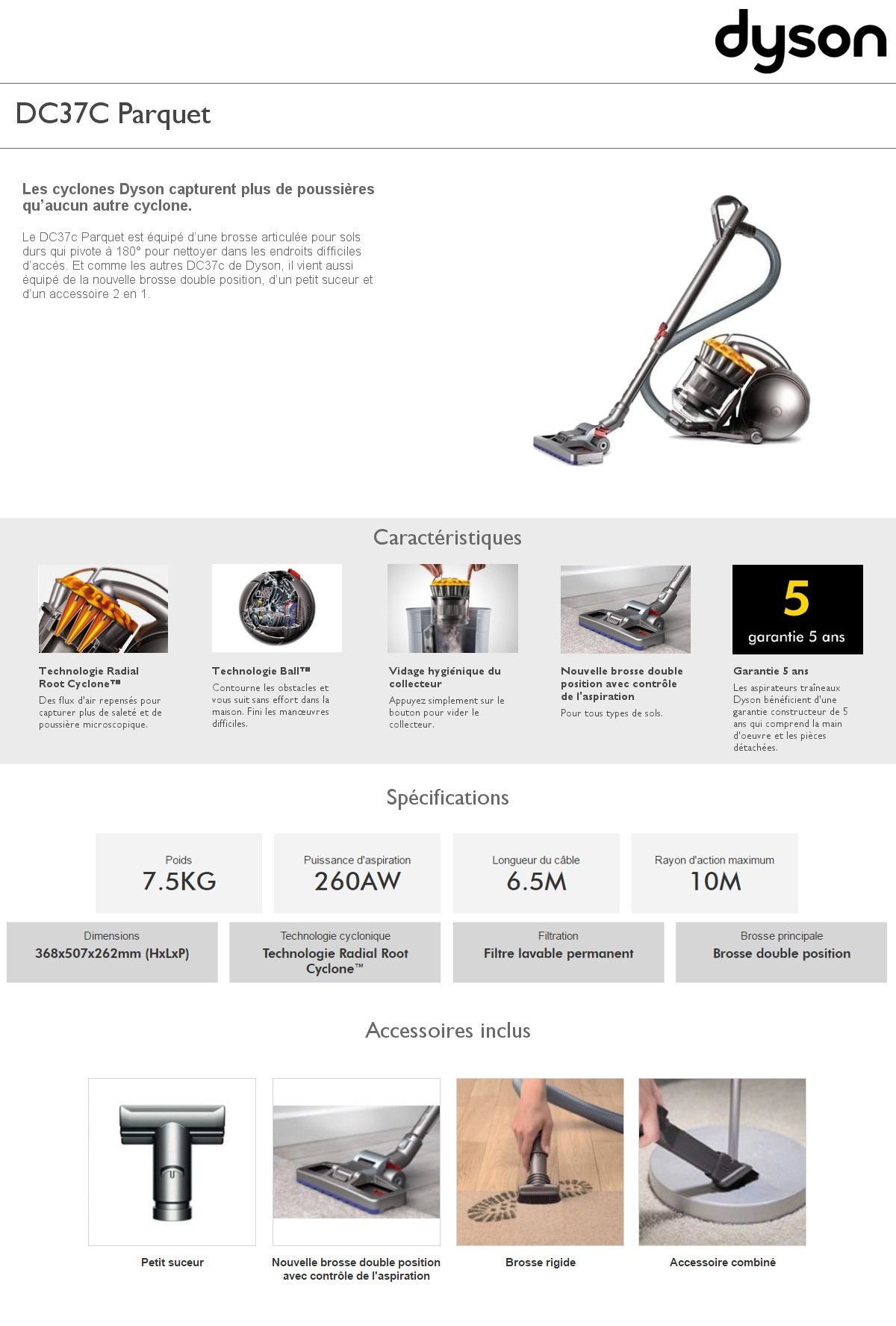 destockage dyson aspirateur sans sac dc37c parquet aspirateur traineau au meilleur prix. Black Bedroom Furniture Sets. Home Design Ideas