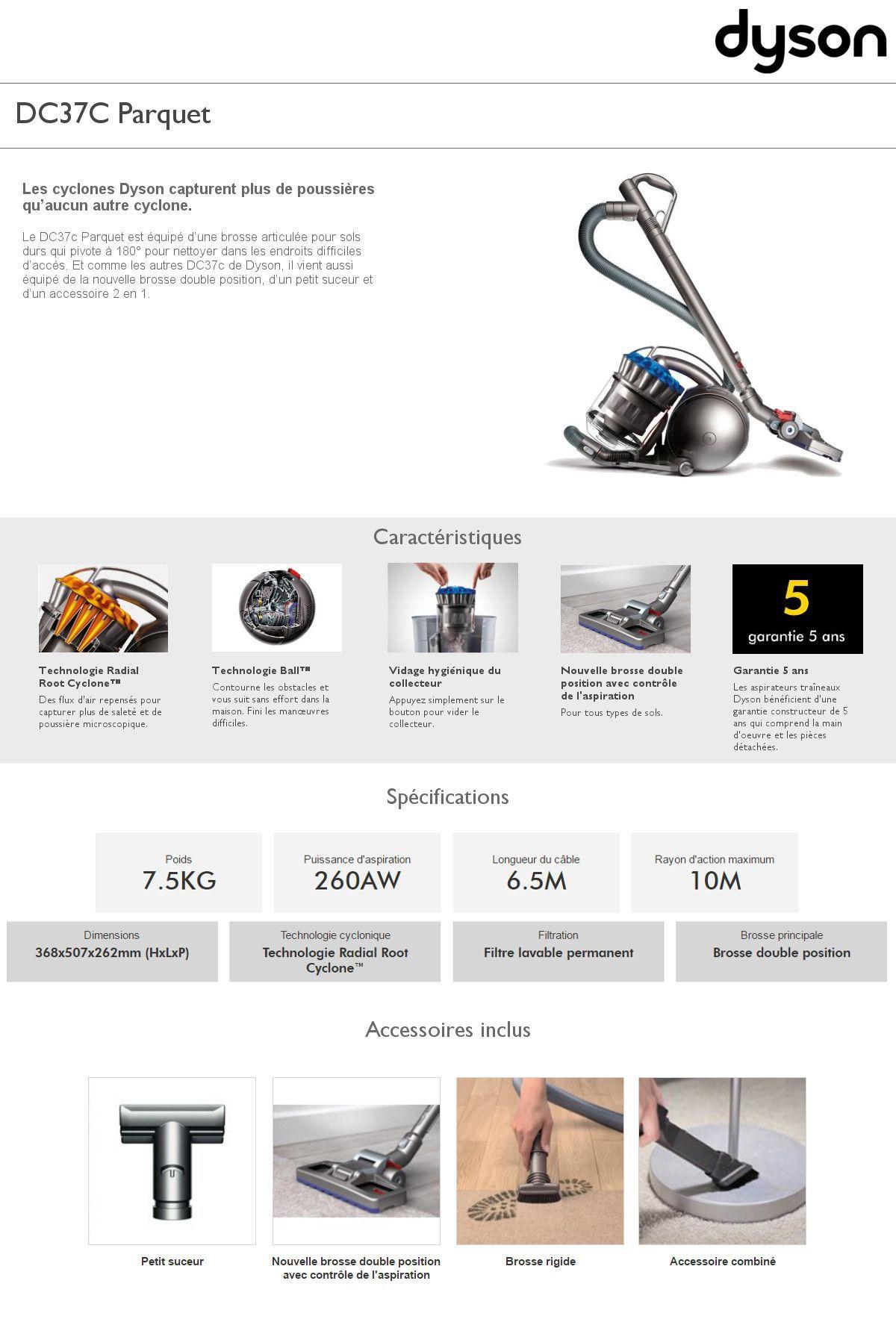 dyson aspirateur sans sac dc37c allergy achat vente. Black Bedroom Furniture Sets. Home Design Ideas