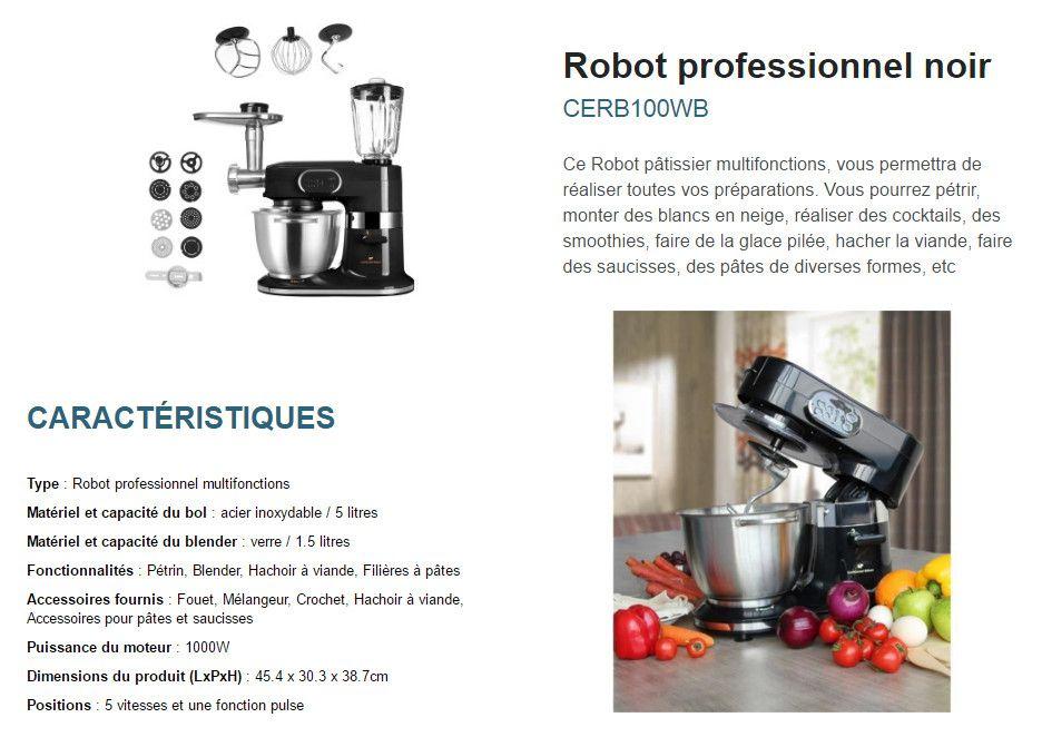 continental edison robot professionnel cerb100wb 1000 w noir accessoires achat vente. Black Bedroom Furniture Sets. Home Design Ideas