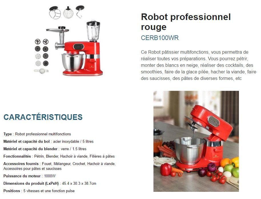 continental edison robot professionnel cerb100wr 1000 w. Black Bedroom Furniture Sets. Home Design Ideas