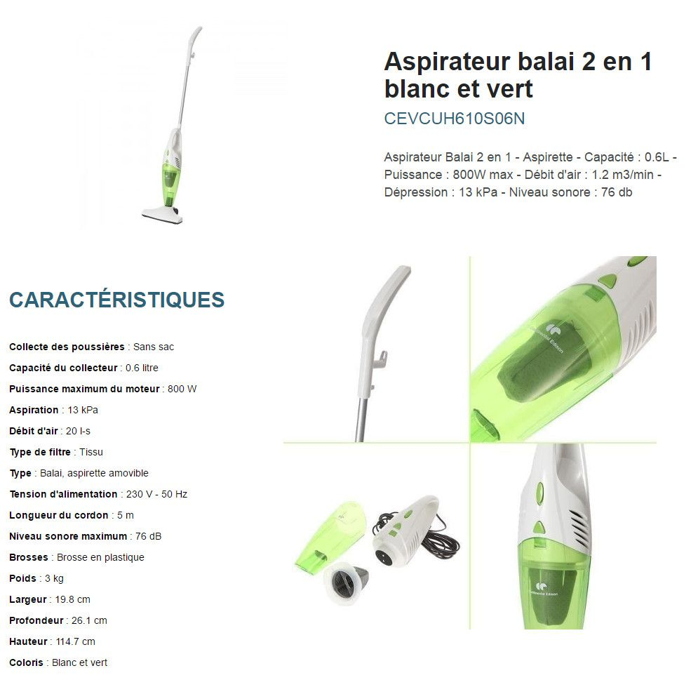 continental edison aspirateur balai continental edison. Black Bedroom Furniture Sets. Home Design Ideas
