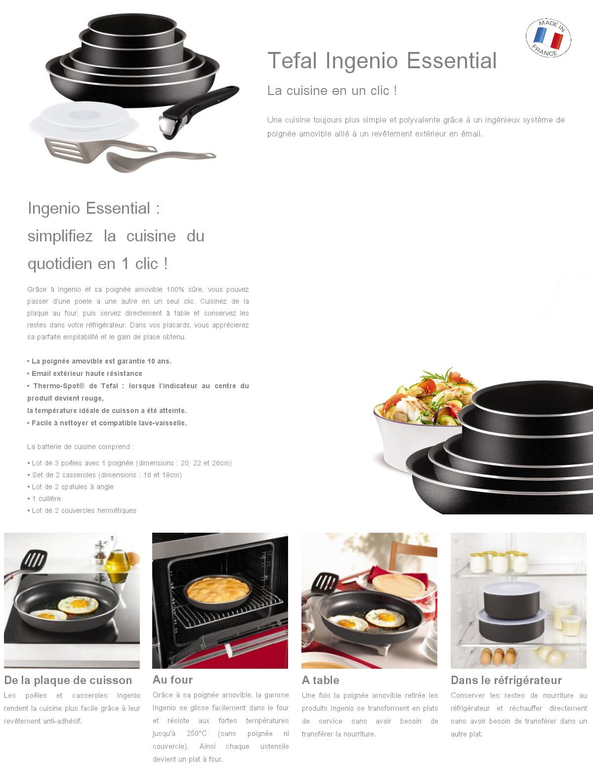 tefal ingenio essential batterie de cuisine 10 pi ces l2008902 16 18 20 22 26cm tous feux sauf. Black Bedroom Furniture Sets. Home Design Ideas