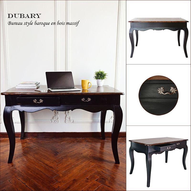 dubary bureau romantique en bois massif noir vernis l 120 cm achat vente bureau dubary. Black Bedroom Furniture Sets. Home Design Ideas