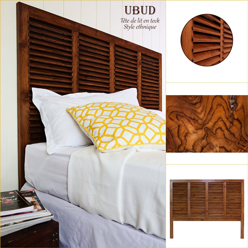 ubud t te de lit ethnique en bois teck massif teint naturel l 162 cm achat vente t te de. Black Bedroom Furniture Sets. Home Design Ideas