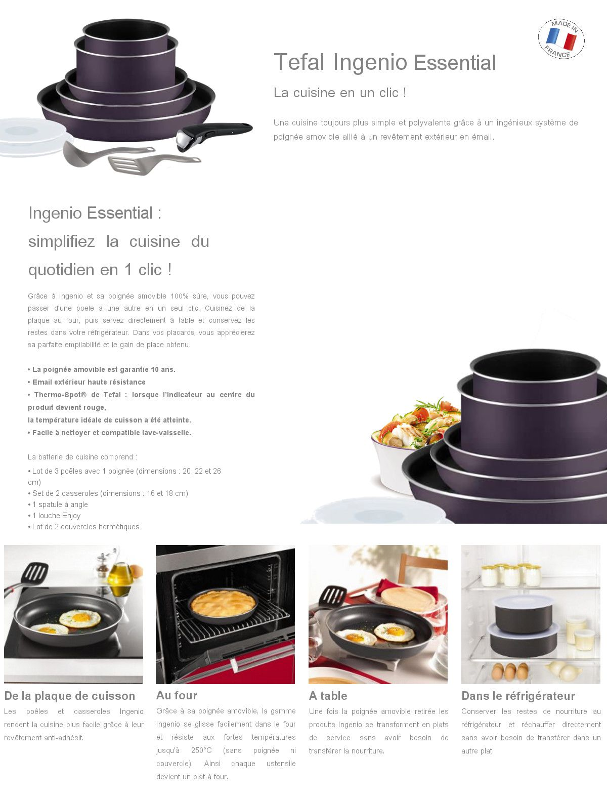 tefal ingenio essential batterie de cuisine 10 pi ces l2029802 16 18 20 22 26cm tous feux sauf. Black Bedroom Furniture Sets. Home Design Ideas