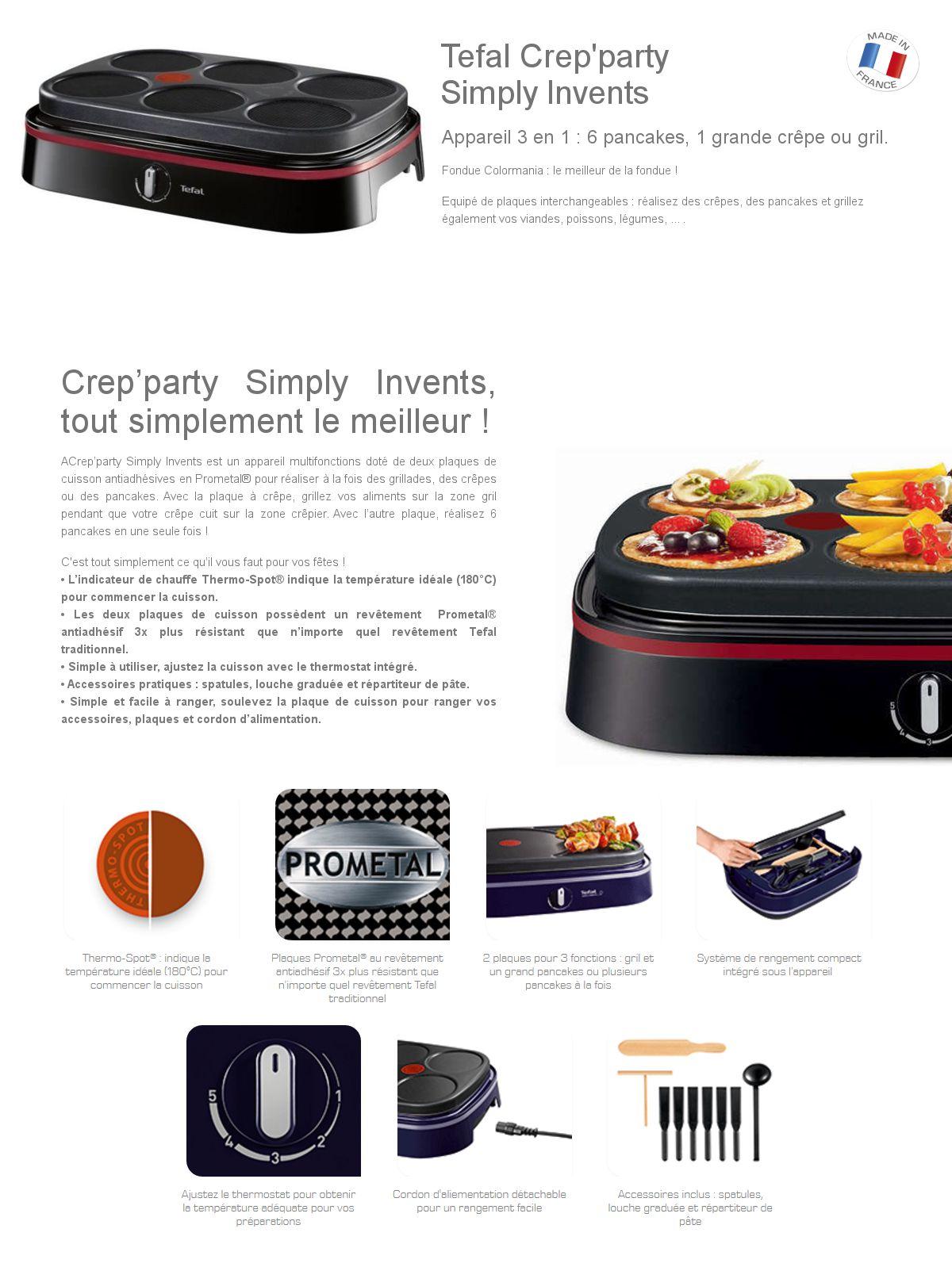 tefal cr pi re crep 39 party 3 en 1 py605814 achat. Black Bedroom Furniture Sets. Home Design Ideas