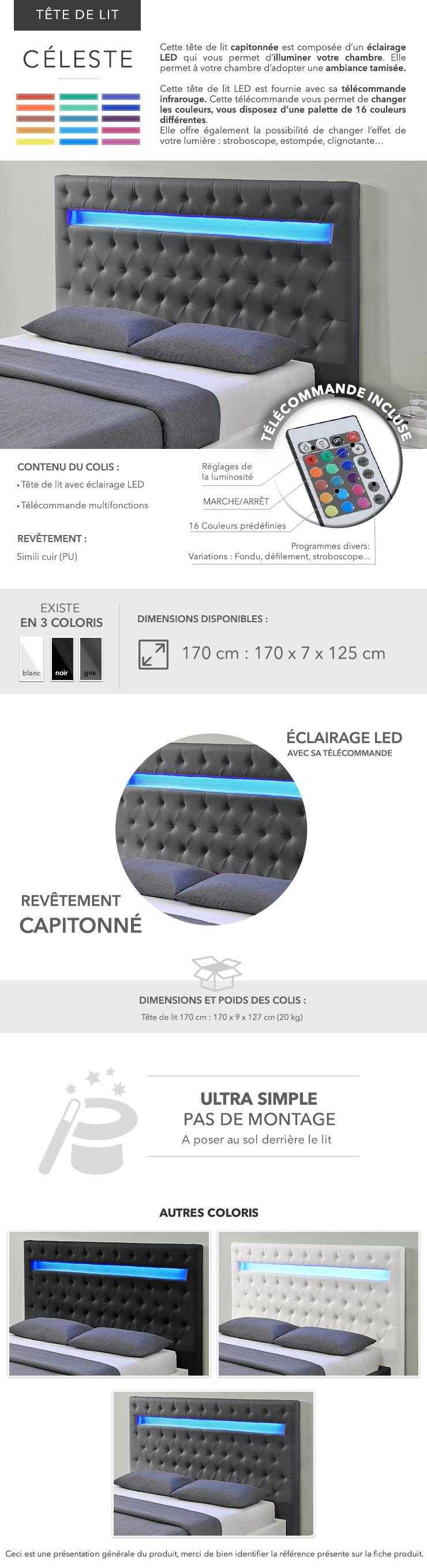 celeste t te de lit en simili avec clairage led 150 cm. Black Bedroom Furniture Sets. Home Design Ideas
