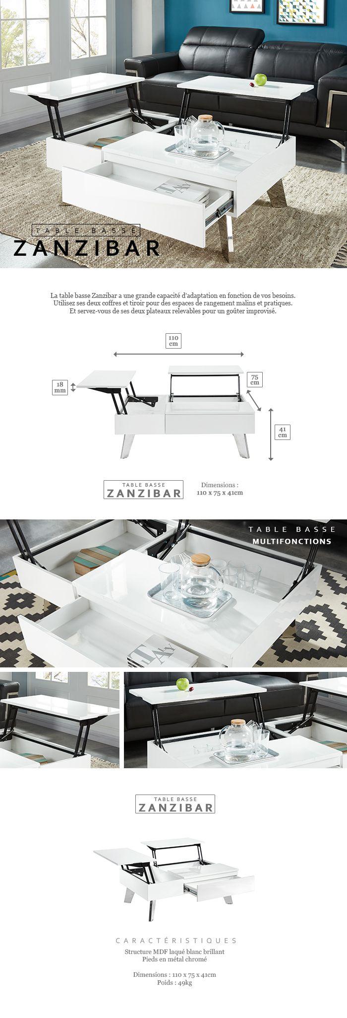 zanzibar table basse transformable style contemporain laqu blanc brillant avec pieds chrom s. Black Bedroom Furniture Sets. Home Design Ideas