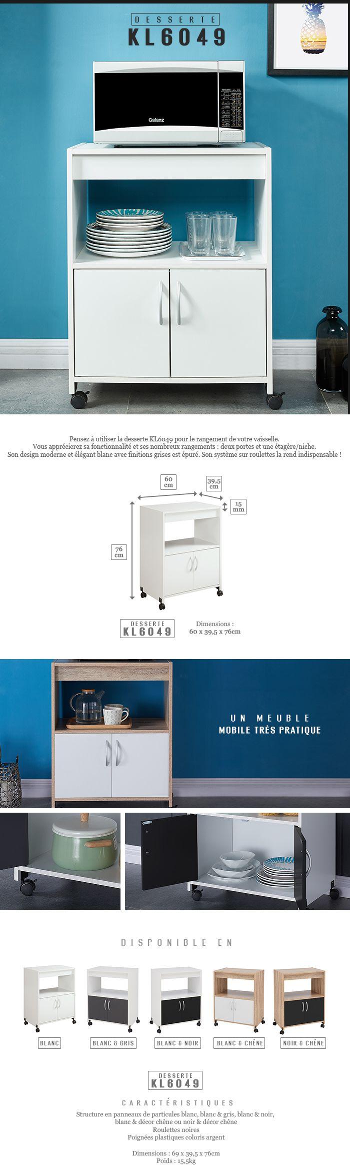 easy desserte de cuisine sur roulettes 60 cm gris et blanc achat vente desserte billot. Black Bedroom Furniture Sets. Home Design Ideas