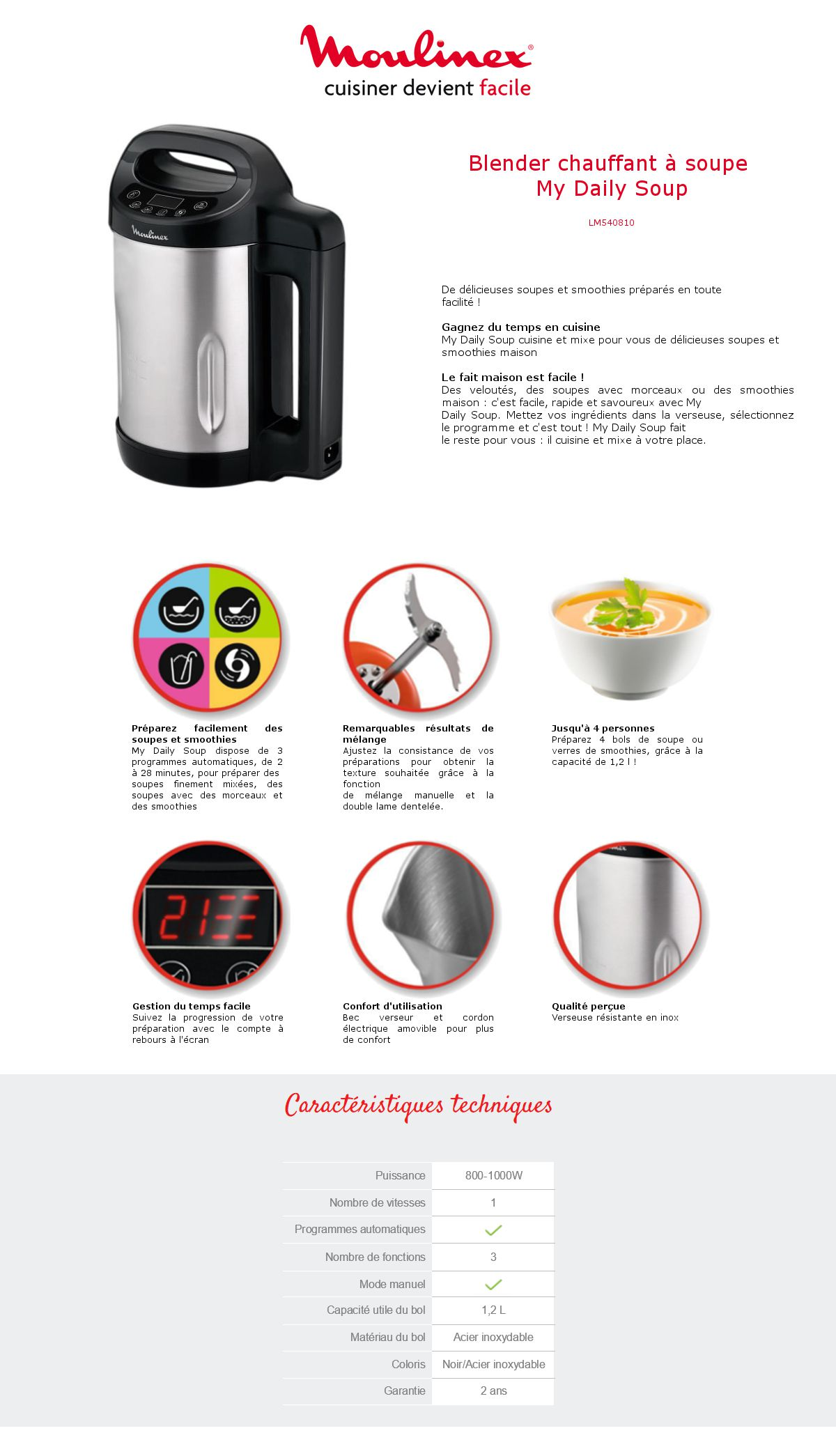 moulinex blender chauffant 1 2l lm540810 my daily soup maker inox noir achat vente. Black Bedroom Furniture Sets. Home Design Ideas