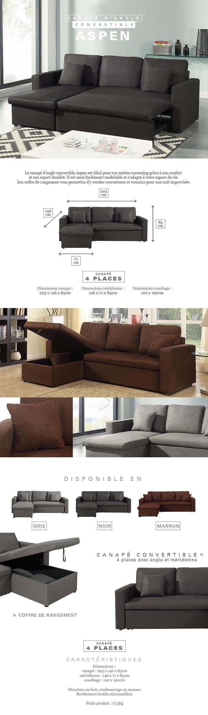 aspen canap d 39 angle r versible convertible 4 places tissu noir contemporain l 223 x p 146. Black Bedroom Furniture Sets. Home Design Ideas