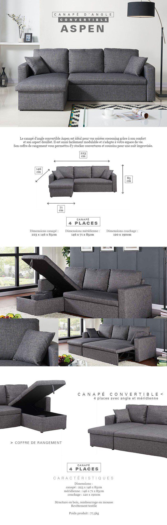aspen canap d 39 angle r versible convertible 4 places tissu gris chin contemporain l 223 x. Black Bedroom Furniture Sets. Home Design Ideas