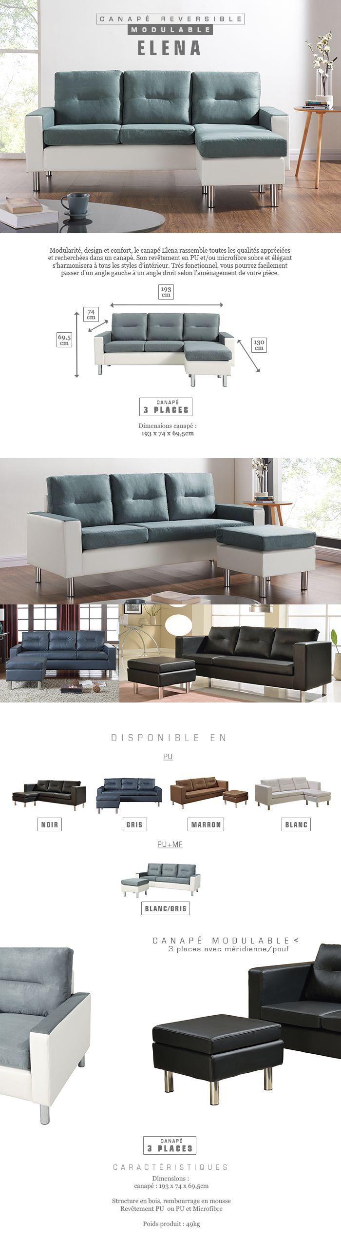 f0ac36142f5 Avis client   ELENA Canapé d angle réversible modulable 3 places - Tissu  gris et simili blanc - Contemporain - L 193 x P 74 - 130 cm