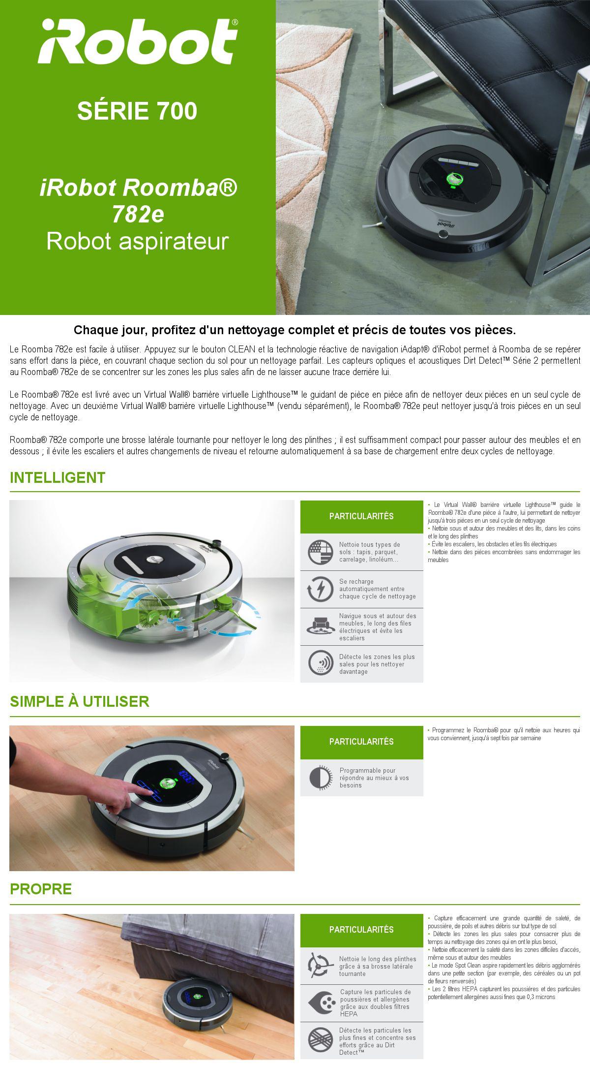 irobot roomba 782e aspirateur robot 33w 61 db gris. Black Bedroom Furniture Sets. Home Design Ideas