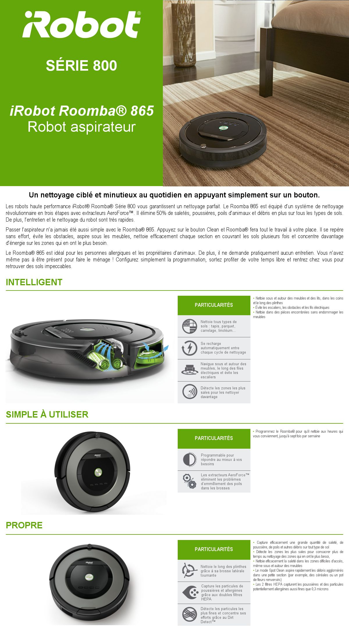irobot roomba 865 aspirateur robot 33w 58 db gris. Black Bedroom Furniture Sets. Home Design Ideas