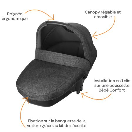 bebe confort nacelle amber s curit auto groupe 0 triangle black achat vente nacelle bebe. Black Bedroom Furniture Sets. Home Design Ideas