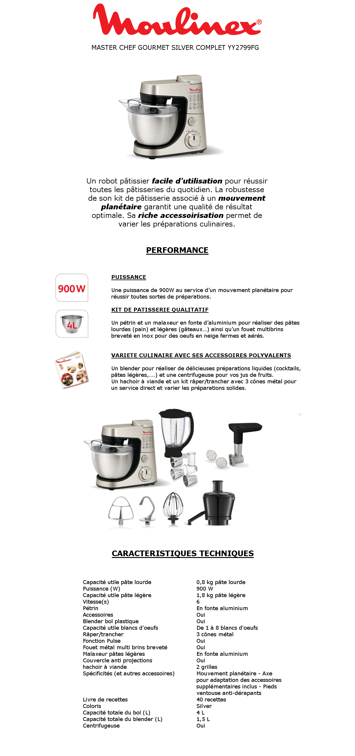 moulinex masterchef gourmet silver complet yy2799fg