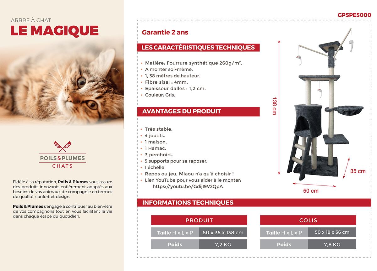 Comment Installer Un Hamac Sans Arbre poils & plumes arbre à chat le magique 50x35x138 cm - gris