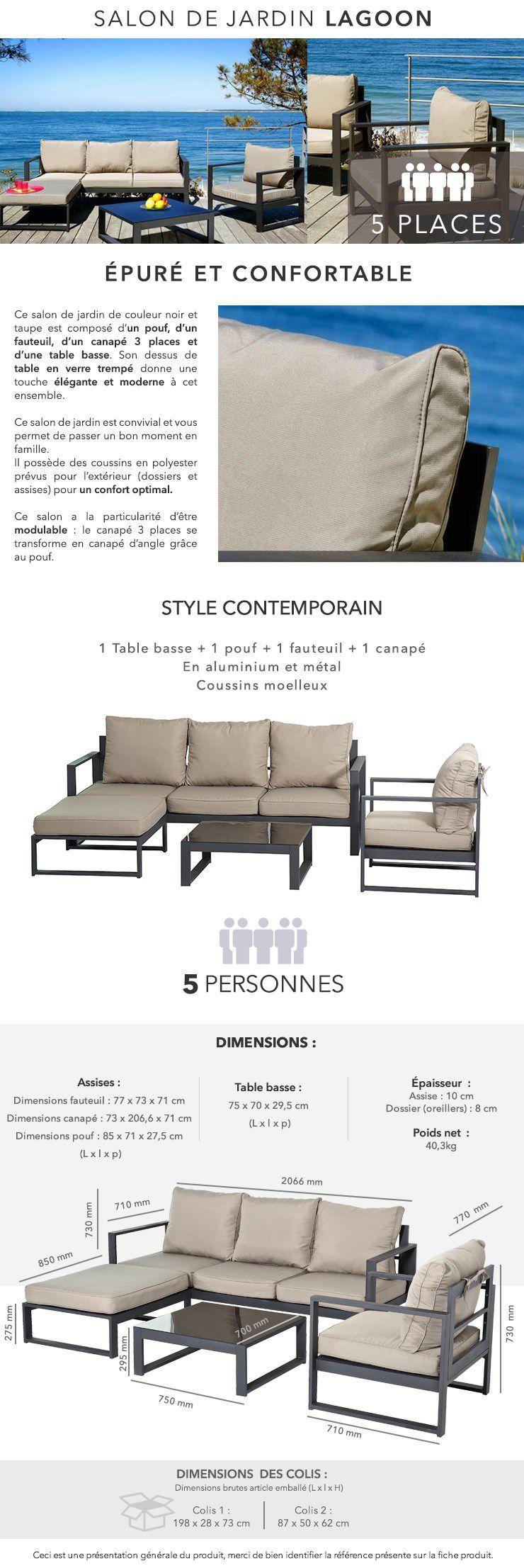 LAGOON Salon de jardin 5 places aluminium - Noir et taupe - Achat ...