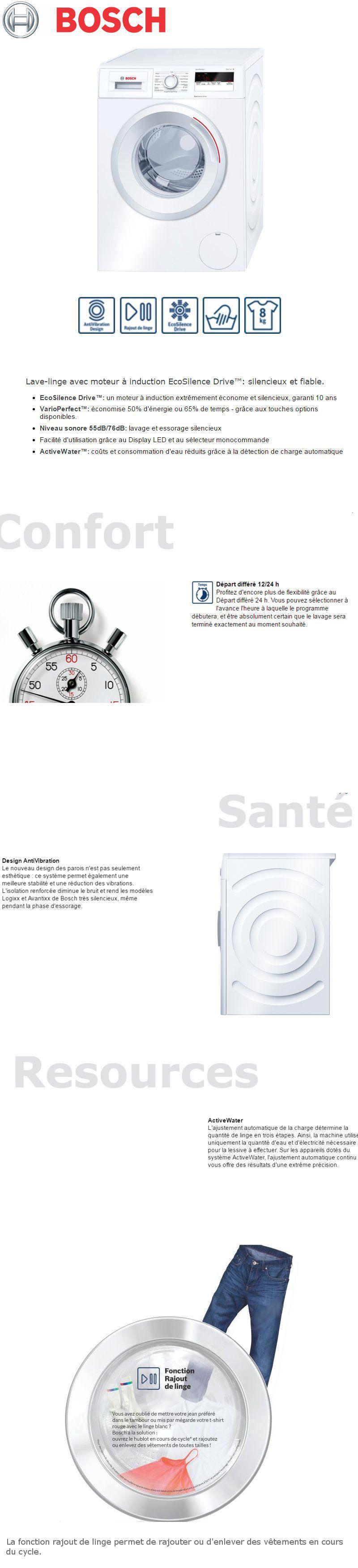 Catégories associées au produit BOSCH WAN24130FF - Lave-linge frontal - 8kg  - 1200 tr   min - A+++ -10% - Induction EcoSilence Drive e18faf26e01