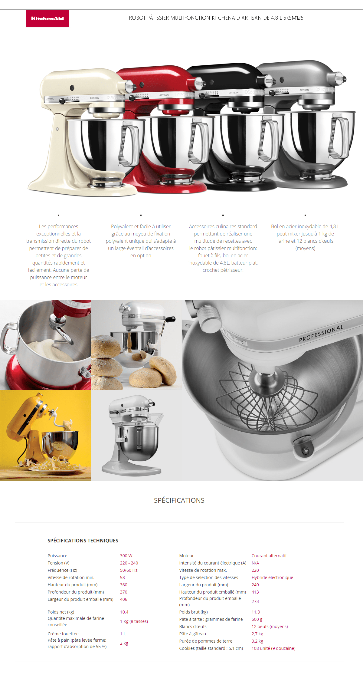 robot patissier artisan kitchenaid 5KSM125