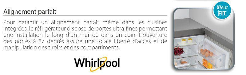 whirlpool blf9121ox - réfrigérateur congélateur bas - 369l (258+
