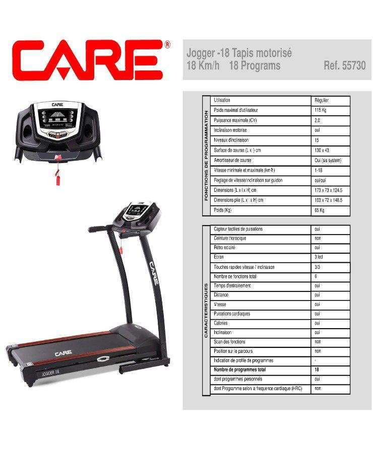 Care Tapis Course Jogger 18 Km H Inclinable Motorise 2cv 18