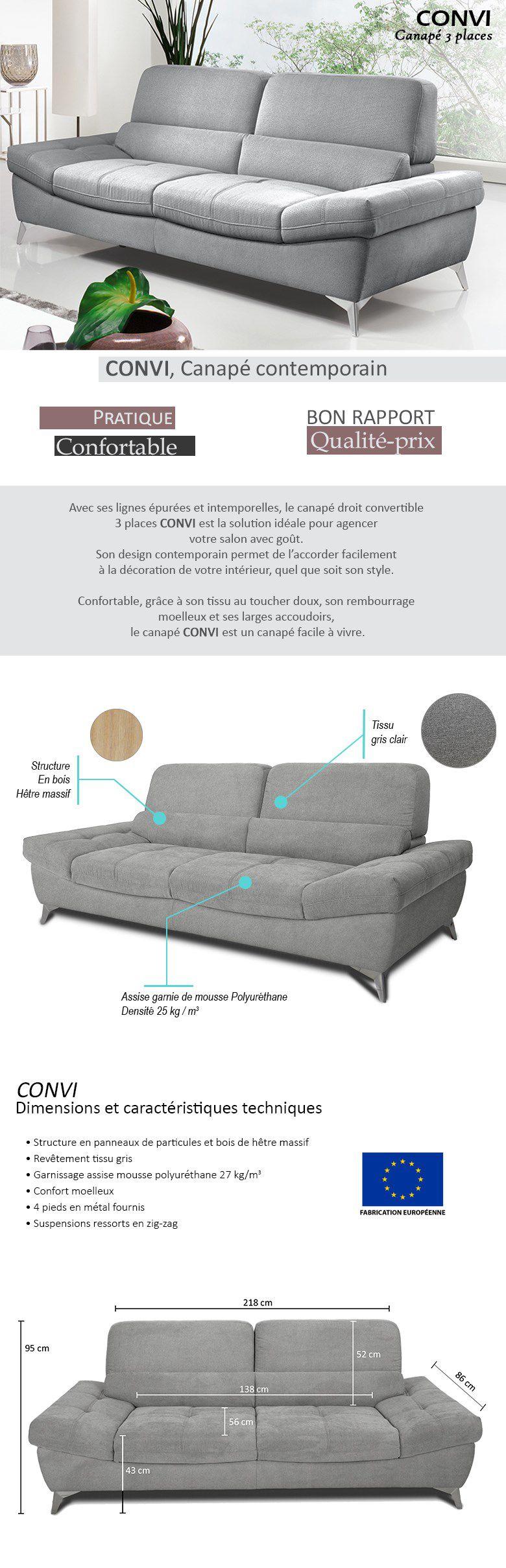 Canape Moelleux Places Relax Canap De Relaxation Droit Places Tis - Formation decorateur interieur avec canapé 3 places fixe tissu
