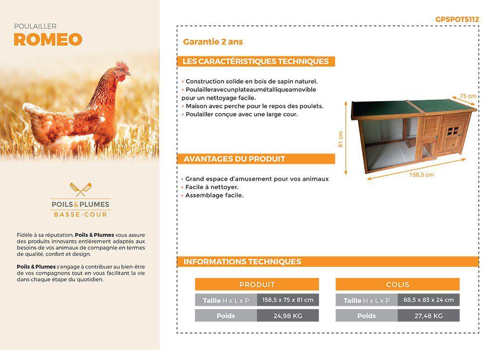 POILS & PLUMES Poulailler Romeo en bois 2/4 poules 160 x 75 x 80cm ...