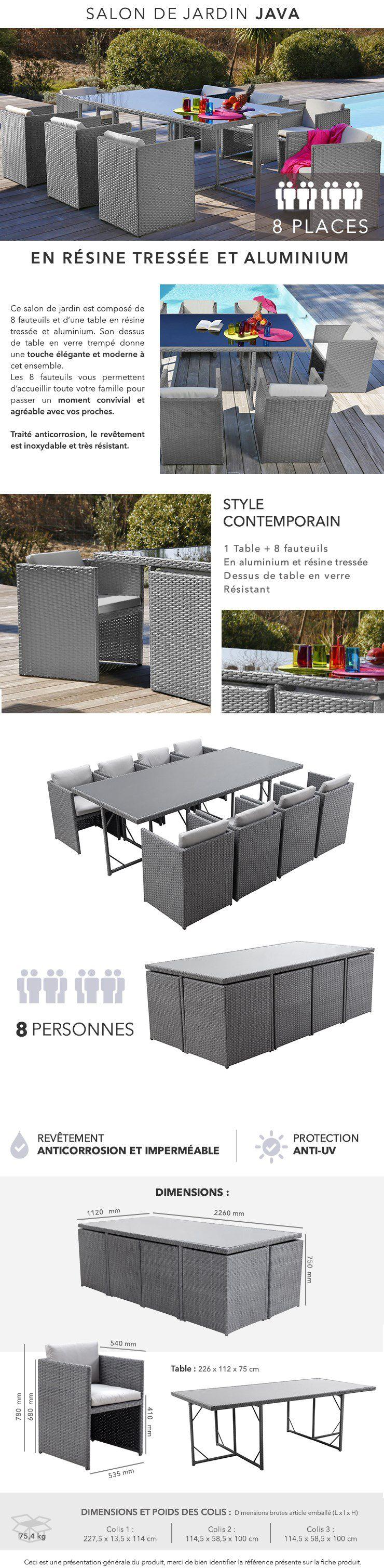 JAVA Salon de jardin 8 places en résine tressée et aluminium - Gris ...
