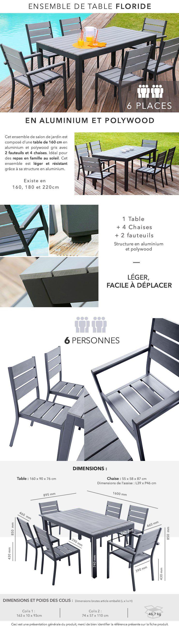 FLORIDE Salon de jardin - Table L 160 cm + 2 fauteuils + 4 chaises ...