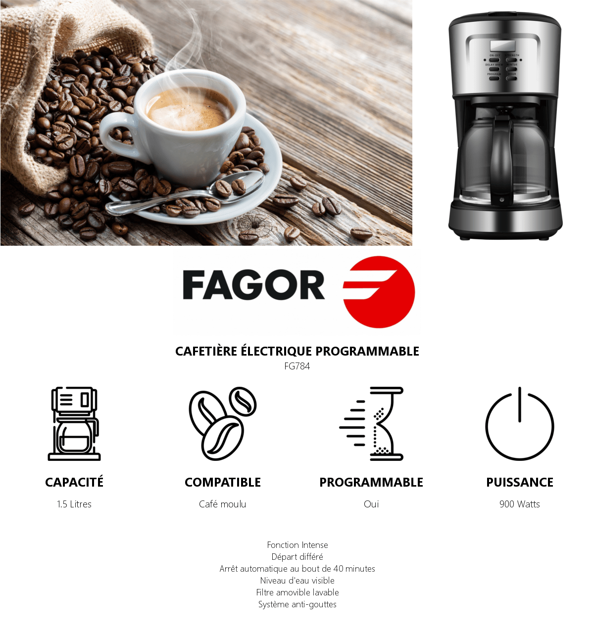 fagor fg748 cafetiere programmable