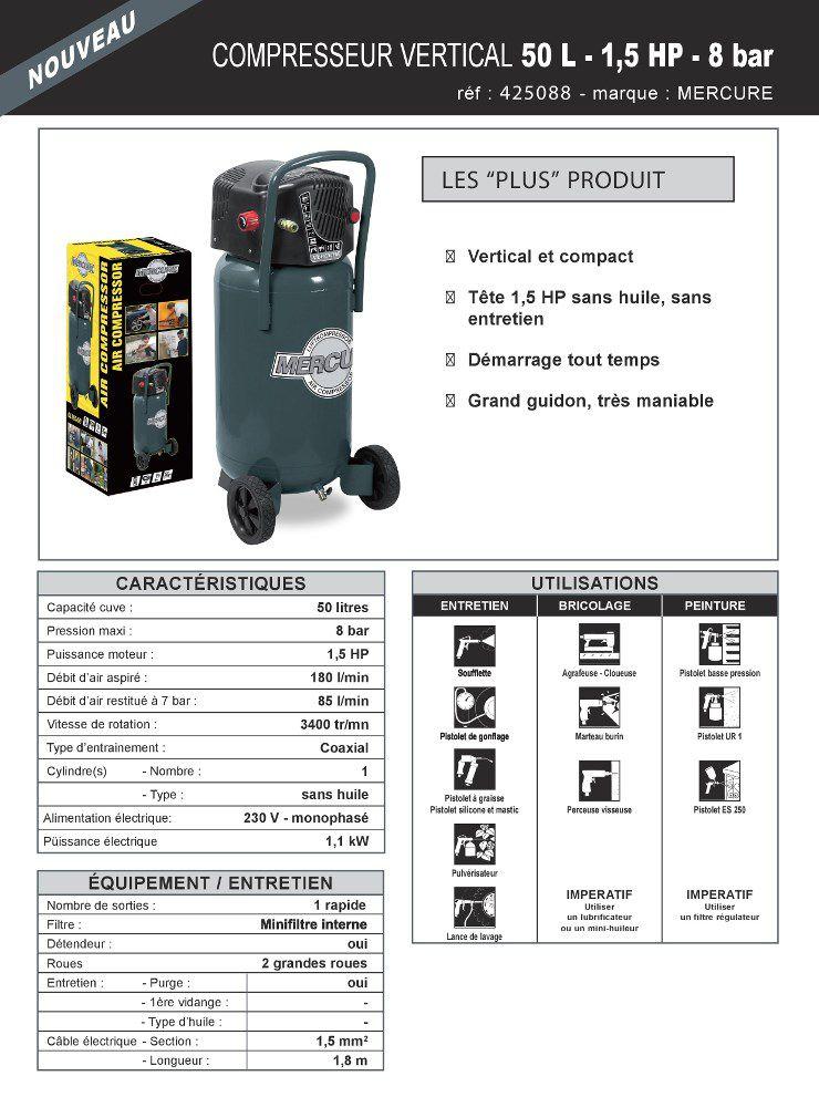 mercure compresseur d 39 air vertical 50 l 1 5 cv 8 bars achat vente compresseur compresseur 50. Black Bedroom Furniture Sets. Home Design Ideas